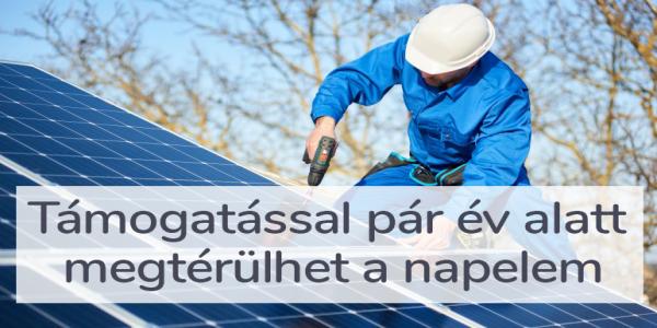 Támogatással pár év alatt megtérülhet a napelem